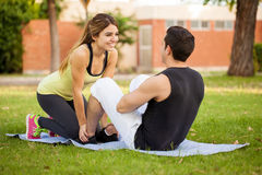 Working out together in a park Royalty Free Stock Image