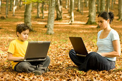Working outdoor on laptop Royalty Free Stock Image