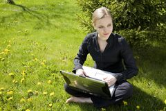 Working Outdoors Stock Image