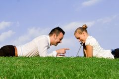 Working outdoors with laptop Royalty Free Stock Photography