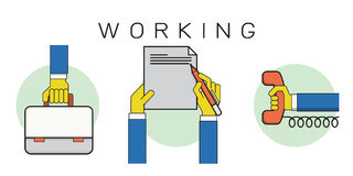 Working outline icons Stock Image