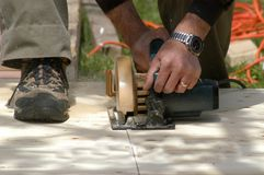 Working outside. Carpenter working outside stock photography