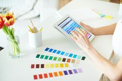 Working with palette Stock Photo