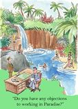 Working in paradise. Do you have any objections to working in Paradise royalty free illustration