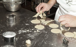 Working with Pastry Dough Royalty Free Stock Photography