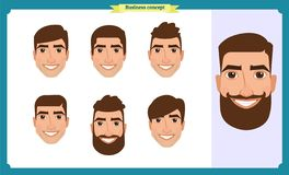 Working people, business man avatar icons.Flat design people characters.Business avatars set. Isolated vector on white. vector illustration