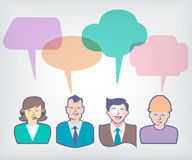 Working people with colorful speech balloons Stock Image