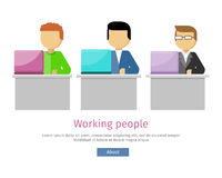 Working People Web Banner. Man Works with Laptop. Working people web banner. Man work with laptop and analyze website in flat design style. Developing solution Royalty Free Stock Photo