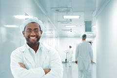 Working people with white uniforms Royalty Free Stock Image