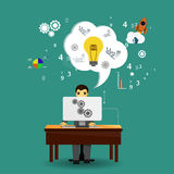 Working person and idea lamp Stock Photo