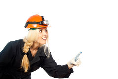 Working person to robe with a helmet Royalty Free Stock Images