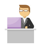Working Person Web Banner. Man Work with Notebook. Working person web banner. Man work with laptop and analyze website in flat design style. Developing solution Stock Photography