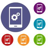 Working phone icons set. In flat circle red, blue and green color for web Stock Photo