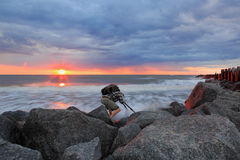 Free Working Photographer At Sunrise Folly Beach SC Royalty Free Stock Image - 52529746