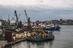 Working pier in Vladivostok with moored ships Royalty Free Stock Photos