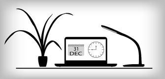 Working place calendar. Working place with calendar date 31 december on laptop Stock Image