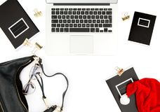 Working place Christmas decoration flat lay social media Stock Image