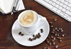 Working place with coffee cup Royalty Free Stock Images