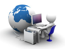 Working place connectet to globe vector illustration