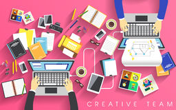 Working place of creative team in flat Stock Photos