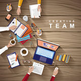 Working place of creative team in flat design Stock Image