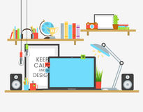 Working place of creative team in flat design over wooden table. Designer work Stock Images