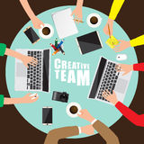 Working place of creative team in flat design Royalty Free Stock Images