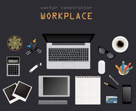 Working place in flat design. Constructor of your own work space Royalty Free Stock Photos