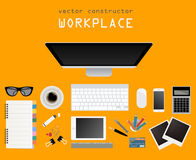 Working place in flat design. Constructor of your own work space Royalty Free Stock Images