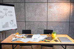 Working place with gadgets and whiteboard Stock Image