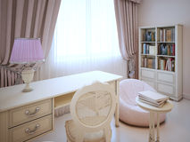 Working place in girl bedroom Royalty Free Stock Photo