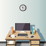 Working place at home or office illustration. Modern interior. Flat design. Royalty Free Stock Image