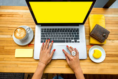 Working place with laptop Royalty Free Stock Photography