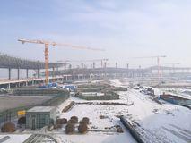 Working place in Longjia New Airport after snowing Stock Photo