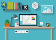 Free Working Place Modern Office Interior Flat Design Royalty Free Stock Images - 46730669