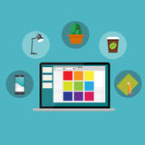 Working Place Modern Office Interior Flat Design Royalty Free Stock Photos