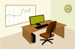 Working place in office with an infographic on the wall. Office working place with computer, infographic, wall clock Royalty Free Stock Images