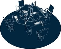 Working Place Office Vector 01. Working Place Office High Detail Illustration Vector Stock Photography