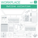 Working place in outline linear flat design. Constructor of your Royalty Free Stock Images