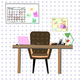 Working place with purple dot on the background Stock Photos