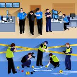 Working Policeman People  Horizontal Banners Royalty Free Stock Images
