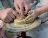Working on pottery wheel Stock Photo