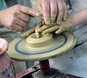 Working on pottery wheel Royalty Free Stock Photos