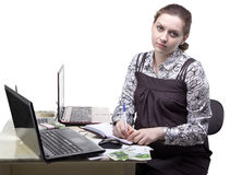 Working pregnant woman and money royalty free stock photography