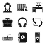 Working premise icons set, simple style. Working premise icons set. Simple set of 9 working premise vector icons for web isolated on white background Royalty Free Stock Photography