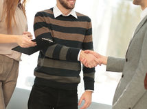 Working process,managers team work new project. Photo young busi Royalty Free Stock Images