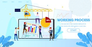 Working Process of People Making Web Page Design vector illustration