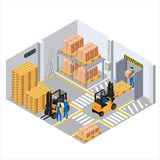 Working process in the warehouse, loaders and pallets with boxes. Employees perform their duties, marking on the floor Royalty Free Stock Photography