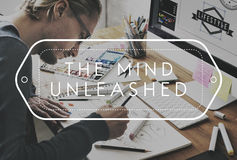 Working Productive Art Hobby Concept. Working Productive Thinking Mind Unleashed Royalty Free Stock Images