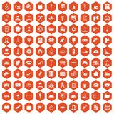 100 working professions icons hexagon orange Royalty Free Stock Photos